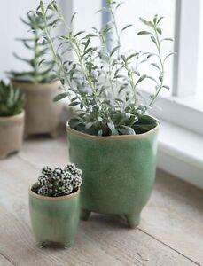 Green Crackle Glaze Positano Ceramic Plant Pot Cover with Feet, Round Planter