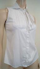 Armani Collezioni blanc plissé PLASTRON À COL sans manches formelle shirt Top I38 UK6