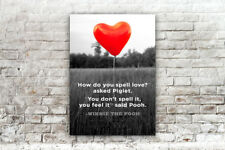 BLACK AND WHITE RED WINNIE THE POOH BALLOON PRINT  PICTURE POSTER ART A4
