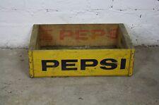 Vintage en bois pepsi soda rétro années 70 caisse trug boite jaune