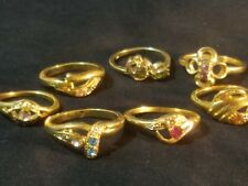Gold plated ring lot 7  asst sizes marked some with color stones US Seller