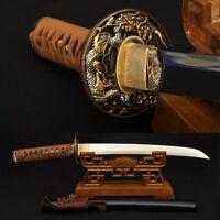Clay tempered 1095 Carbon Steel Samurai Japanese Tanto Dragon Sword Sharp Blade