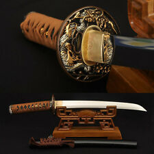 Clay tempered 1095 Carbon Steel Samurai Japanese Tanto Dragon Sword Sharp Blade