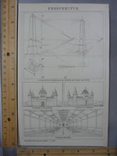 Rare Antique Original VTG Line Perspective Chart German Illustration Art Print