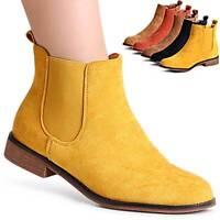 Damen Velours Stiefeletten Chelsea Boots Booties Ankle Boots Stiefel
