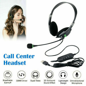 USB Noise Cancelling Headset Headphones with Microphone PC Laptop Call Office US