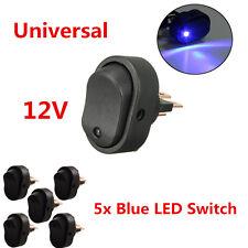 5Pcs Blue LED Light 12V 30A Car Boat Rocker SPST Toggle ON/OFF Switch Universal