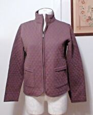 Charter Club Women Pink Purple Cotton Quilted Jacket Coat Quilt Blazer Shirt S