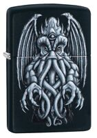 Zippo Winged Monster Design Black Matte Windproof Pocket Lighter, 49122