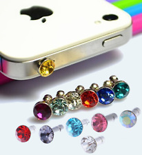(13) EARPHONE JACK BLING DIAMOND RHINESTONE CRYSTALS  3.5mm Anti Dust Plug Cap