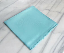 Silk Mens Pocket Square-Hand Rolled Turquoise Silk Pocket Square