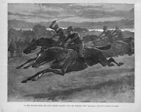 HORSE RACING JOCKEY SADDLE WHIP REINS FOUR HORSES FLASHED PAST THE WINNING POST