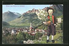 AK Meran in Südtirol, Ortsansicht und kleiner Junge in Tracht mit Blumentopf