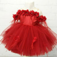 Toddler Kids Baby Girls Flower Tulle Party Princess Pageant Wedding Tutu Dress