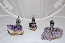 Vintage Pewter Mythical Wizard On Purple Amethyst Geode Base 3 Piece Set