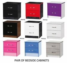 MDF/Chipboard Bedside Tables & Cabinets with 2 Drawers