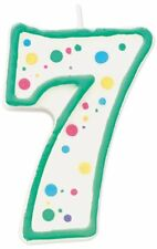 Wilton Green Polka Dots Number 7 Age Candle Children Birthday Party Decoration