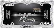 Queen Chrom Nummernschild Rahmen für Auto-Car-Truck + Bling Schraube Kappen