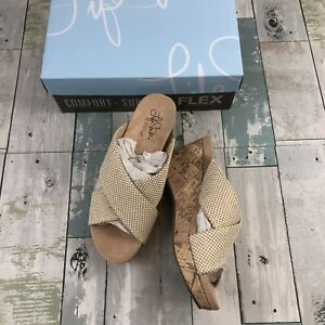 Life Stride Donna Woven Ivory Wedge Sandals Size 7 Wide