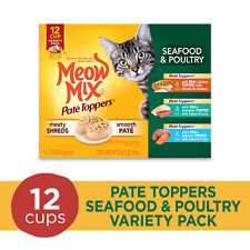 Meow Mix Pate Toppers Seafood & Poultry Variety Pack Wet Cat Food, 12 Cups