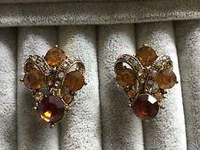 Clip on earrings crystal vintage style topaz high quality glamorous elegant