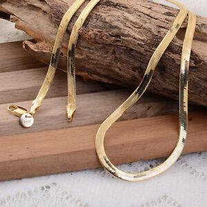 """New 3.5mm HQ 18K Yellow Gold Plated Flat Herringbone Necklace Chain 21"""" N-130"""