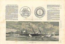Paquebot La Provence & Bateau à vapeur Marine russe Azov à Istanbul GRAVURE 1882