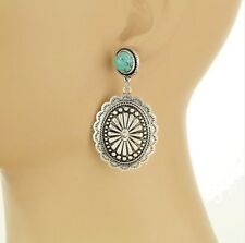 Faux Turquoise Stud Post Drop Earrings Cowgirl Western Big Silver Oval Concho