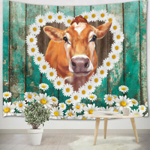 Watercolor Cow Daisy Flower Wood Plank Tapestry Wall Hanging Living Room Bedroom