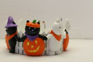 Hallmark Halloween Black Cats & Ghost Picket Fence Large Jar Candle Holder Ring