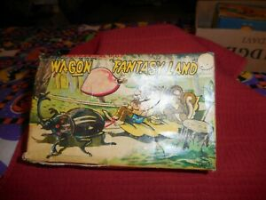 Vintage TPS Japan Wagon Fantasy Land Tin WindUp Toy W/Box Works, Looks Great 12""