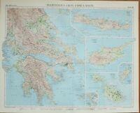 1956 Grand Carte Peloponnesus Crête Chypre Malte Athens Korinthia Argolis
