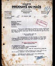 """PARIS (VIII°) USINE à HAUBOURDIN 59 / GLUCUSE MASSE """"PRODUITS du MAIS"""" en 1948"""