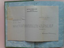 Boston Set w/ Letter to Arthur Davison Ficke - Signed by Upton Sinclair, 1928