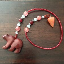 Pendulum of Agate and Carved Red Jasper Bear