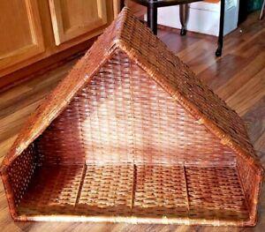 Unique Vintage Boho Woven Wicker Rattan Shelf Wall Brown Triangle Shelf Nativity