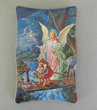 Schutzengelbild 2 Kinder auf Brücke ca. 7 x 11 cm Geburt Taufgeschenk  AD 55