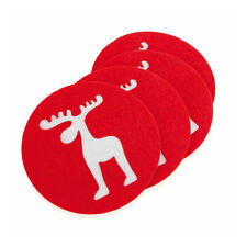 Set of 8 Felt Coasters Stag Deer Reindeer Design Christmas Xmas Table Decor UK