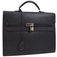 HERMES KELLY DEPECHE 34 Business Bag ⬜J C.U  Black Togo NR14344