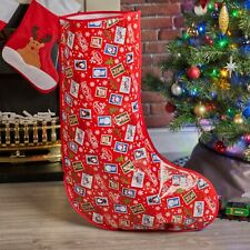 Large Traditional Red Christmas Stocking Design Tree Bag Hanging Gift Decoration