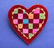 American Greeting Pin Valentines Vintage Heart Patchwork Quilt Holiday Brooch