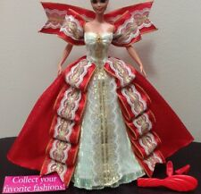 "BARBIE~""HAPPY HOLIDAYS""~SPARKLY RED / GOLDEN GOWN~SHOES~BRUSH~1997~(NO DOLL)~NEW"