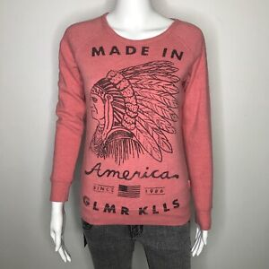 Glamour Kills Made In America Sweatshirt Small S Orange Indian Flag Thermal USA