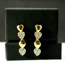 Gold Tone and Rhinestone Heart Dangle Screw On Earrings Wedding Bridal
