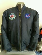 NASA flight jacket dark navy blue old NASA patches