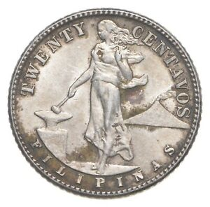 Roughly Size of Nickel 1944 Philippines 20 Centavos World Silver Coin *703