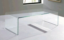 Extra Clear Glass Waterfall Style Coffee Table