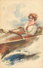 Artist Signed Usabal Lady in A Car 04.89