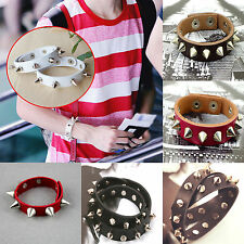 CH Hot Metal Cone Stud Rivet Spike Punk Leather Bangle Cuff Bracelet Wristband
