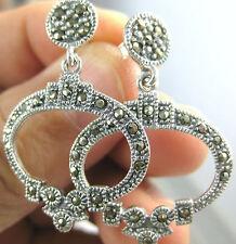 100% Real 925 Sterling Silver marcasite antique vintage oval open earrings WOMEN